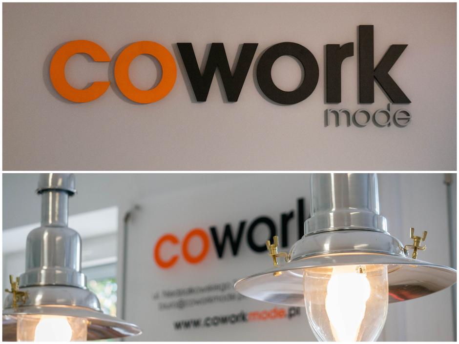 """Cowork_mode robi bardzo dobre wrażenie. Jedna spora salka coworkingowa, sala konferencyjna, """"pokój zwierzeń"""", gdzie można np. na spokojnie porozmawiać przez telefon oraz olbrzymi taras z ogrodem (oczami wyobraźni jużwidzę tutaj plenerowe eventy)."""