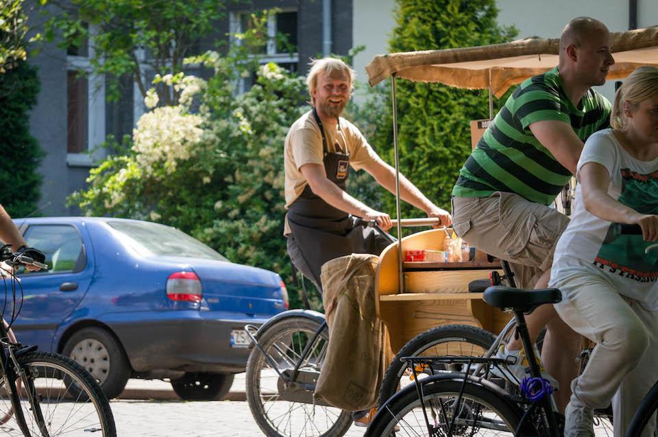 Cafe Rower również pojechało - Pan Wiking musiał się sporo napedałować.