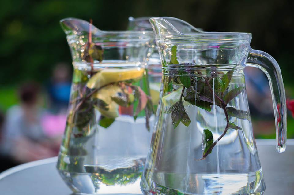 Orzeźwiająca woda z cytryną i miętą.