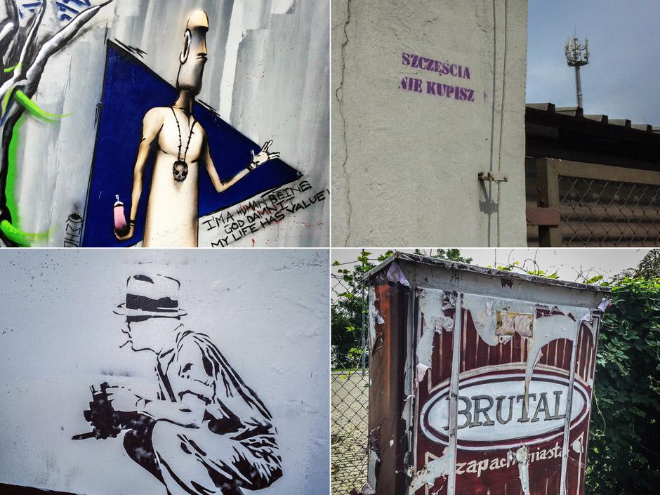 """Tutaj wspomniane wcześniej dwa wyjątki. Brutal (nagryziony zębem czasu) znajduje się na ulicy Kolumba, """"Szczęścia nie kupisz"""" na ulicy 1 maja."""
