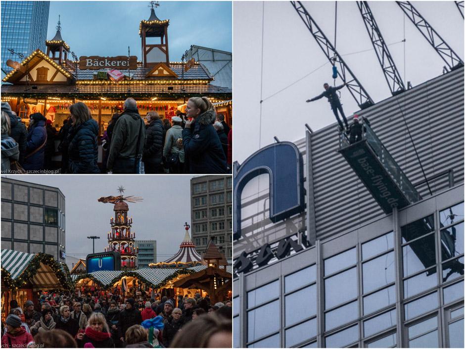 Drugi jarmark przy Alexanderplatz. Były również atrakcje dla odważnych: skok na bungee z kilkudziesięciu pięter w dół.
