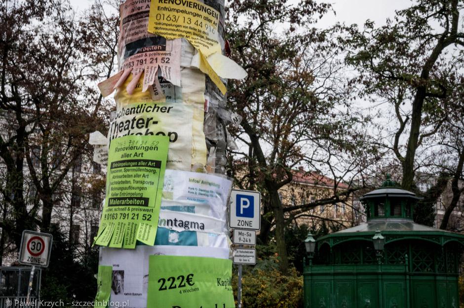 Berlin ma również ten sam problem, co Szczecin. Obklejone słupy - ogłoszenia, wlepki, promocje nie do przegapienia - oczywiście wszystko w kilku warstwach.