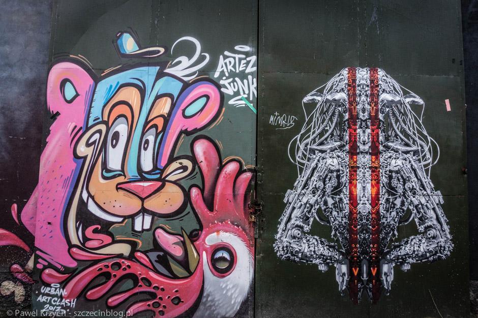Po prawej podobne do jednego streetartu znajdującego się na filarach Trasy Zamkowej w Szczecinie.