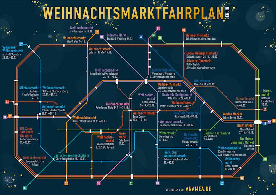 Plan metra z naniesionymi jarmarkami w Berlinie. Sporo tego, mapka może sięprzydać.