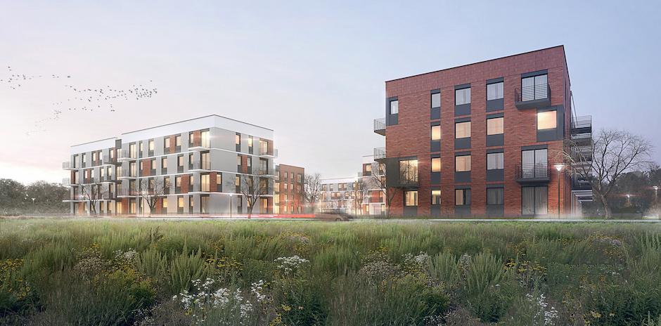 Wizualizacja budynków mieszkalnych nowej inwestycji Alsecco przy ulicy Cukrowej