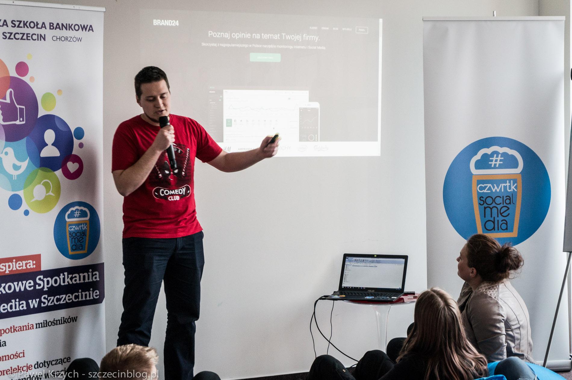 Mikołaj Winkiel z Brand24 podczas poprzedniego Social Media Czwartku w Business Link Szczecin