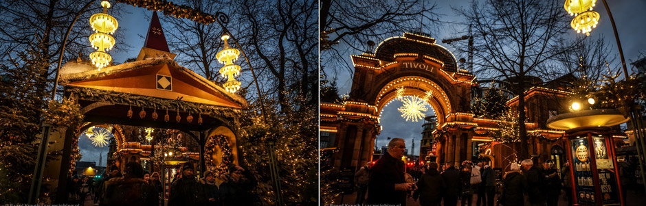 W ogrodach Tivoli na każdym kroku spotyka się iluminacje świąteczne.