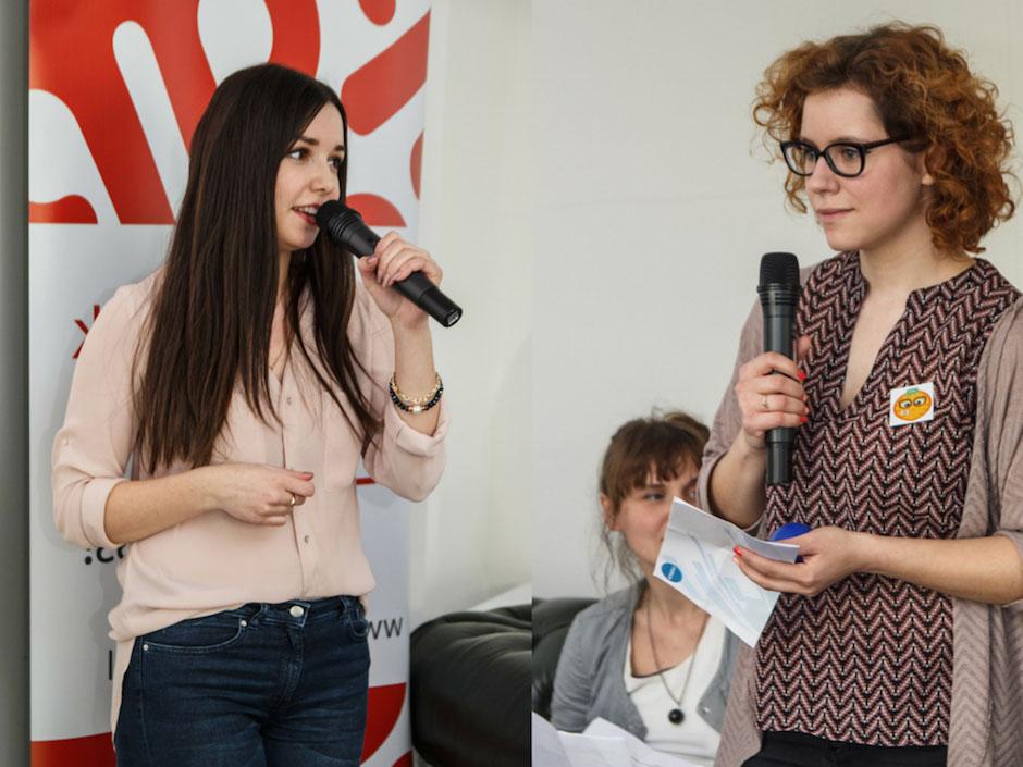 Przy mikrofonach Daria i Ola - organizatorki GGC