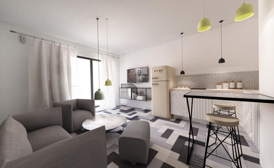 Wizualizacja mieszkania 35 m2.