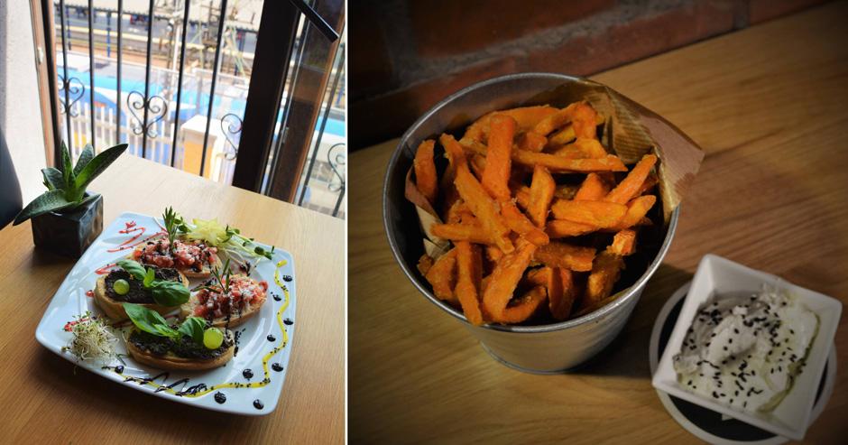 Po lewej: bruschetty z pastą ze świeżych pomidorów z ziołami oraz z tapenadą oliwkową i serem Grana Padano. Po prawej: frytki z batatów + twarożek ziołowy.